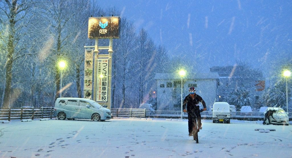 雪の日のオンザロードつくば店