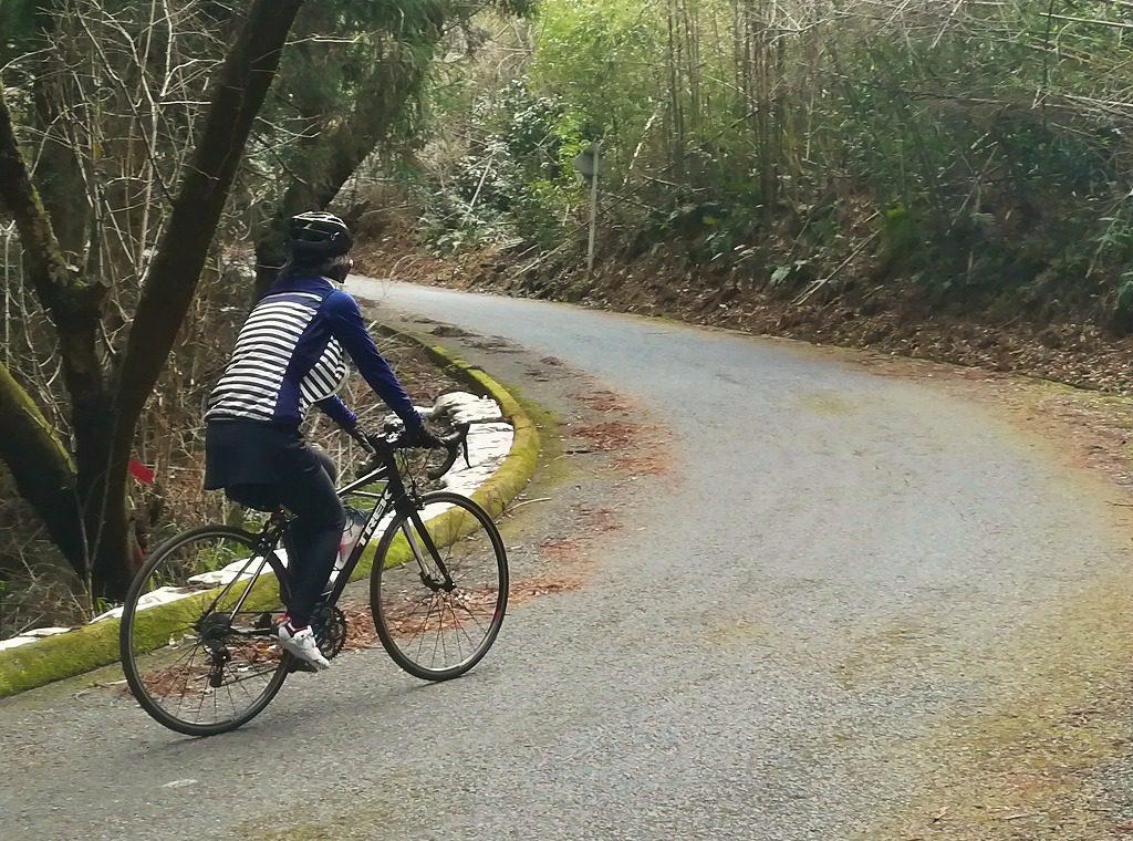 勾配のきつい坂とロードバイク