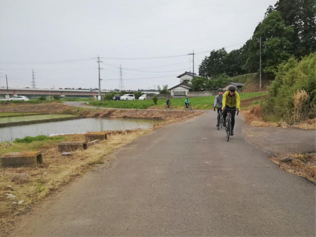 田圃道をロードバイクで走る